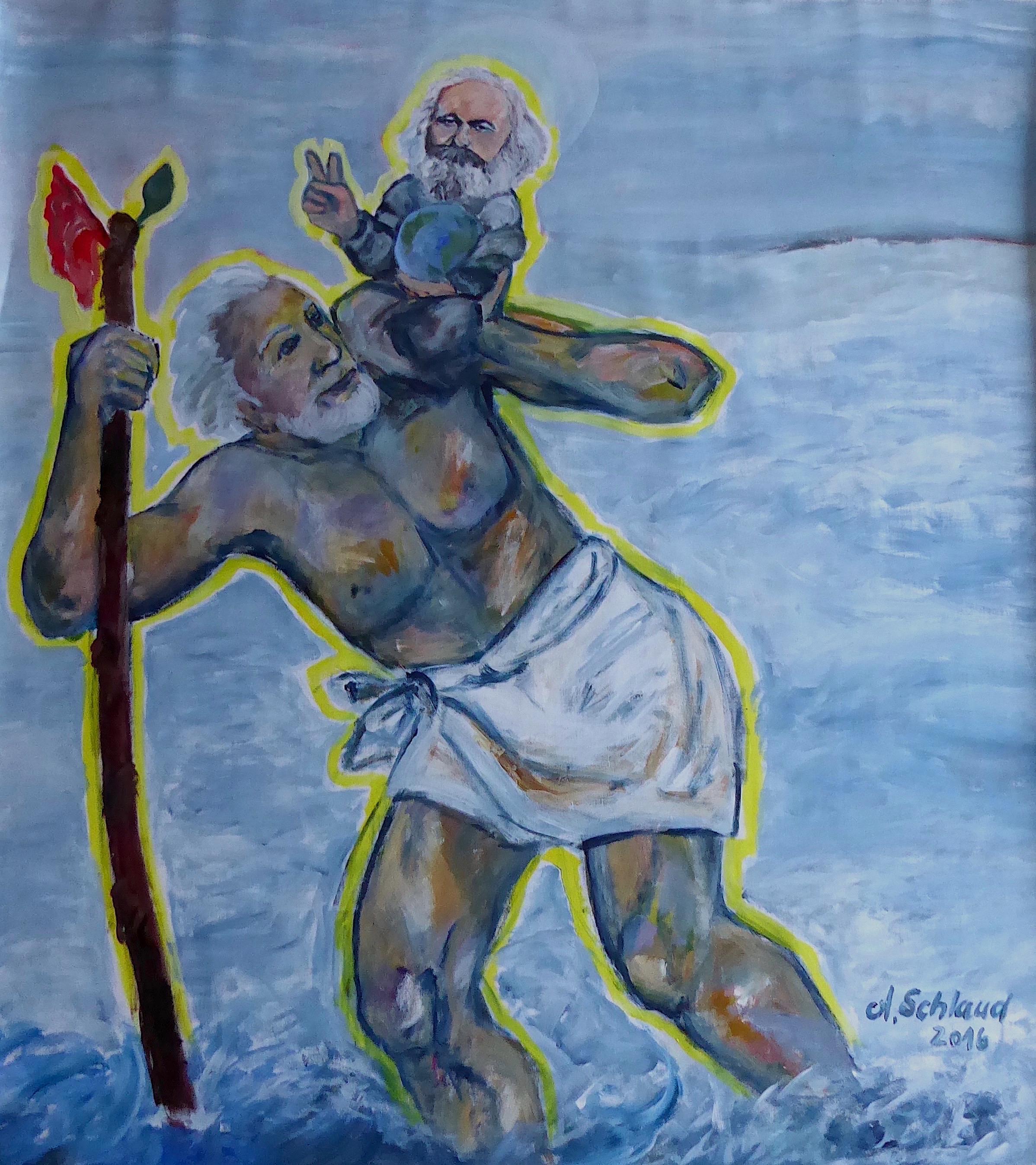 Christopherus oder Auch Jesus war Proletarier_145x115cm_2016_Acryl auf Leinen