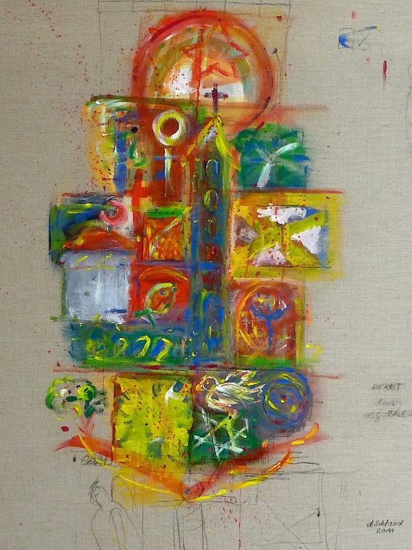 Die Welt das globale Dorf_100x80cm_2011_Acryl auf Leinwand