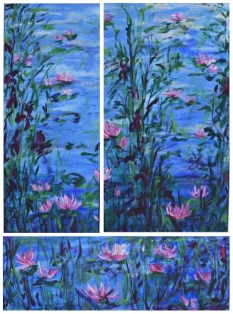 Triptychon Seerosen_149x83; 149x63; 50x147cm_2017_Acryl auf Leinen gerahmt